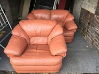 TERRACOTTA LEATHER 2 SEATER SOFA WITH ARM CHAIR,CAN DELIVER