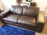 Brown faux leather large 2 seater sofa