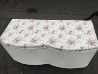 Ottoman Box , covered in floral material . £75 Size L 36in D 15in H 20in .