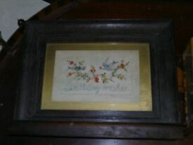 antique silk post card in wooden frame