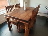 Dining table and chairs 4 seater solid wood