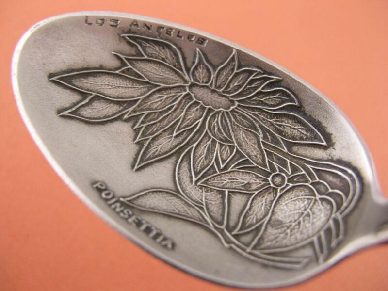 Sterling Souvenir Spoon CALFORNIA  Los Angeles w/ floral Poinsettia bowl