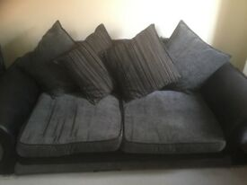 Black and grey pillow back 3 seater sofa