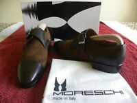Moreschi carinzia cuoio made in Italy, Brown leather/suede casual soft leather buckle, Size 6