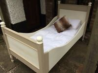 Lovely Old Antique Pine Single German Sleigh Bed