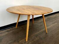 Ercol Model 384 Drop Leaf Windsor Table - Solid Elm Wood - Mid-Century Vintage Danish Round 60s