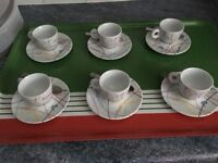 Live Happy Illy Set of Six Espresso Illy Cups and Saucers & Espresso Spoons