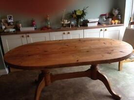 Solid Wood Oval Country Style Table & 6 Chairs