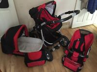 Coral 3in1 pram, Bright Starts swing and Babyway baby carrier for sale