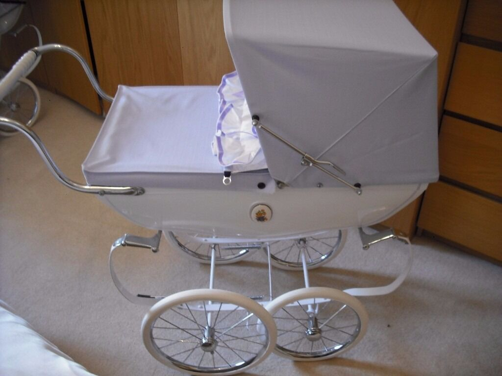 Silver cross coach built dolls pram in white with lilac hood apron