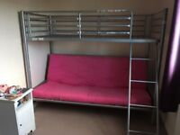 High rise single bed with futon (double bed), pink futon mattress included