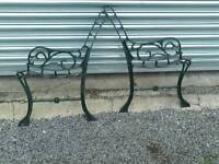 Pair of cast iron garden bench ends