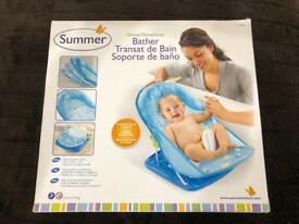 BRAND NEW: Summer Infant Deluxe Baby Bather Splish Splash Blue, bath. Sells for £17 on Amazon.