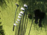 Precision 11 golf club set & carry bag. Inc 8 irons, two drivers and one putter. Good starter kit.