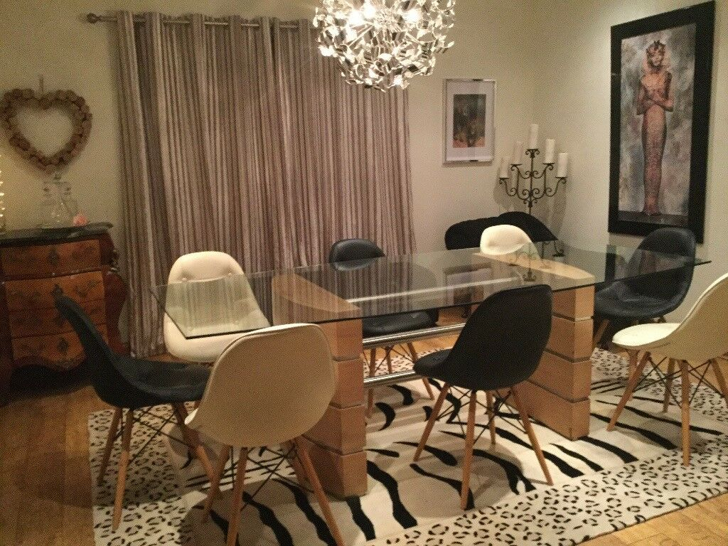 Very Large Dining Table With 4 Black Cream Eames Style Chairs Usual