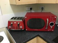 Red Microwave and 4 piece toaster