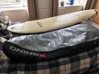 "7ft 5"" minimal surfboard, leash and board bag"