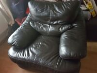 Brown leather sofa really good condition hardly ever used