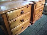 Pair of Pine Bedsides with 3 Draws