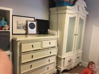 Bedroom furniture set (shabby chic) king size bed drawers wardrobe