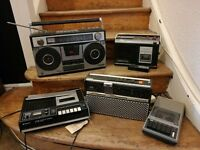 Job Lot Collection x5 Radio Cassette Recorder SANYO ITT AM FM Vintage Retro