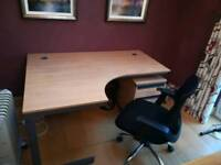 Computer desk and filing cabinet and chair