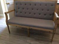 Fabulous french grey fabric bench seat