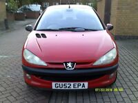PEUGEOT 206 MANUAL 1.4,LONG MOT,2 OWNERS,52-REG 2002,CLEAN CAR,£325 CHEAP