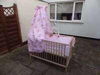 Crib and mattress with bumper set canopy mobily