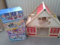 Dolls house and 4 boxes of furniture unopened
