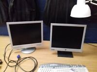 2 x computer monitors, 15 inch