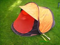 Quechua 2 second pop up tent very rare with mesh graphics and roll away side panels.