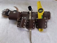 SCAFFODLING BROWN LEATHER TOOL SET BELT , SPANNER 17/21 AND MAGNETIC LEVEL
