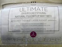 """NEXT SINGLE BED ULTIMATE 2000 POCKET SPRING MATRESS WITH 2""""ATTACHED MEMORY TOP"""