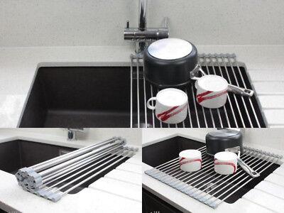 Metal Dish Rack Drainer Sink Kitchen Washing Up Holder
