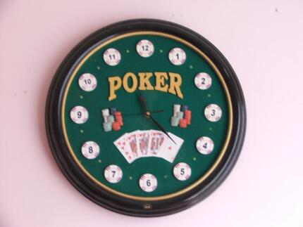 Vintage 35cm Poker Player Wall Clock Cards and Chips Design,