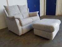 AS NEW G-PLAN STOW SMALL 2 SEATER FABRIC SOFA WITH SCATTER CUSHIONS & FOOTSTOOL DELIVERY AVAILABLE