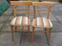 two retro wooden kitchen chairs with original upholstery in fab condition