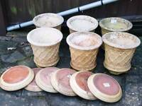 Garden Pots with Saucers