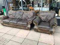 Vintage Brown Leather Chesterfield Large Sofa & Chair With Brass Studs