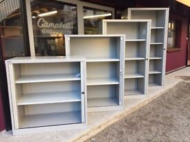 Large selection of Bisley tambour storage cabinets c/w key