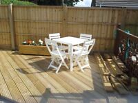 White Patio Set (Table and 4 Foldable Chairs)