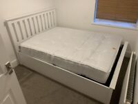Wayfair Ottoman Double Bed (White Solid Wood) + Barely Used Matress
