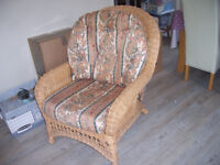 2 WICKER LOUNGE CHAIRS..... SUN EFFECTED BUT COULD COVER