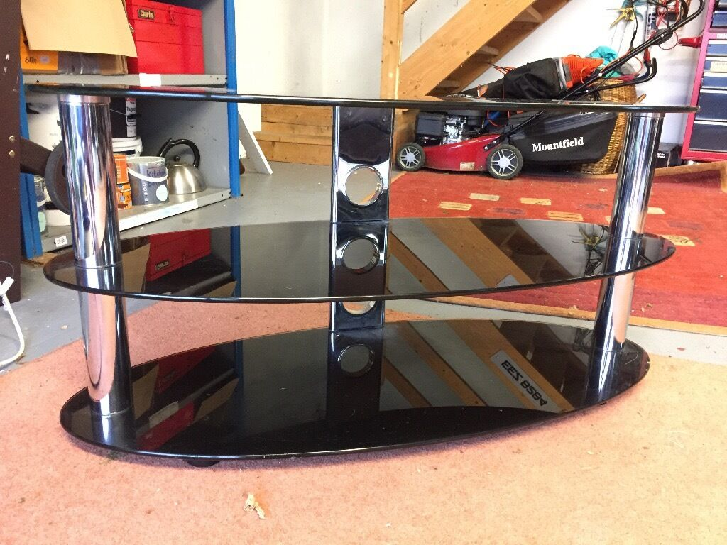 TV Stand Table Oval Black Glass and Chrome 3 Tier - Good Quality