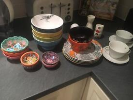 Mixture of colourful plates