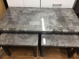 Grey 2+1 marble effect coffee table set
