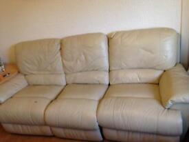 Cream leather three seater reclining Sofa