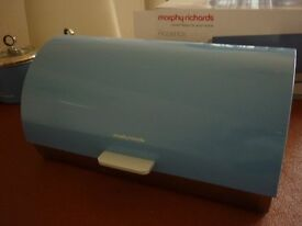 BRAND NEW MORPHY RICHARDS CORNFLOWER BLUE METAL BREAD BIN UNWANTED GIFT