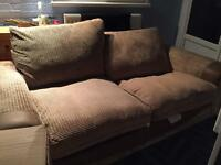 Large 3 seater Brown and Beige Sofa